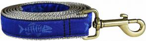 Rogue Fish (Ocean Blue) - 1-inch Ribbon Dog Leash