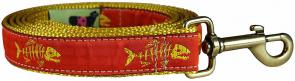 Rogue Fish (Tangerine) - 1-inch Ribbon Dog Leash