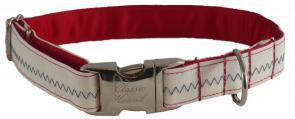 Sail Cloth Dog Collar - White with Blue Stitching