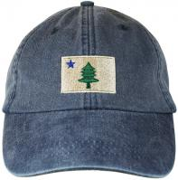 Baseball Hat - Maine Flag on Washed Navy Blue