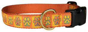 Peace Paws – Orange & Yellow – 1-inch Ribbon Dog Collar