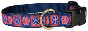 Peace Paws – Red & Blue – 1-inch Ribbon Dog Collar