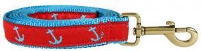 Anchor (Blue & Red) - 1-inch Ribbon Dog Leash