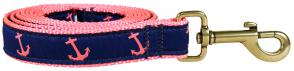 Anchor (Pink & Blue) - 1-inch Ribbon Dog Leash