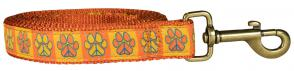 Peace Paws – Orange & Yellow – 1-inch Ribbon Dog Leash