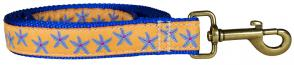 Starfish (Blue & Yellow) – 1-inch Ribbon Dog Leash