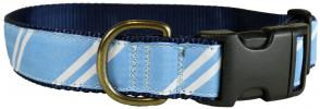 Repp Stripe (White and Light Blue) - 1.25-inch Ribbon Dog Collar