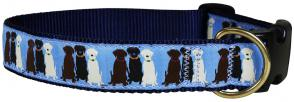 Three Labs (Light Blue) - 1.25-inch Ribbon Dog Collar