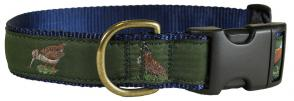 Loden Woodland Birds - 1.25-inch Ribbon Dog Collar