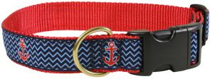 Anchor (Navy Ahoy) - 1.25-inch Ribbon Dog Collar