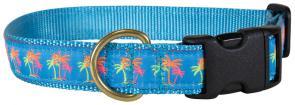 Neon Palm Trees - 1-inch Ribbon Dog Collar