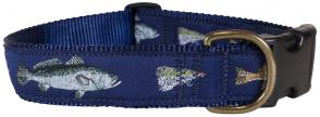 Saltwater Fish and Fly - 1.25-inch Ribbon Dog Collar