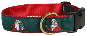 Santa - 1.25-inch Ribbon Dog Collar