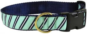 Repp Stripe (Traditional Seafoam) - 1.25-inch Ribbon Dog Collar