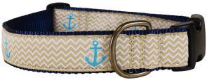 Anchors Ahoy (Tan) - 1.25-inch Ribbon Dog Collar