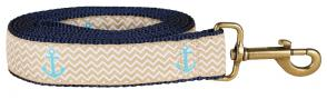 Anchors Ahoy (Tan) - 1.25-inch Ribbon Dog Leash