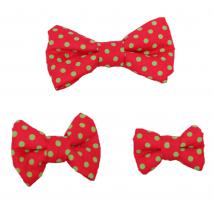 Dog Bow Tie - Green Polka Dots on Red