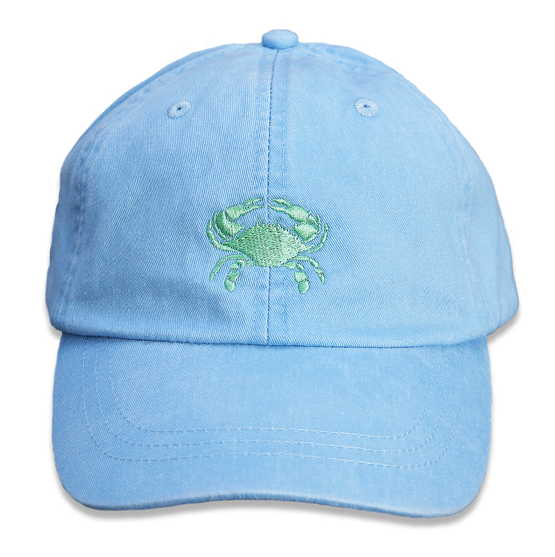 bc-baseball-hat-lime-crab-on-light-blue