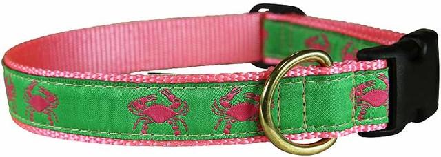 bc-ribbon-dog-collar-pink-and-green-crabs-1-inch