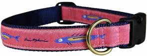 Hopkins Fish (Pink) - 1-inch Ribbon Dog Collar