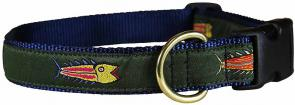 Hopkins Fish (Olive) - 1-inch Ribbon Dog Collar