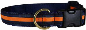 Orange Stripe on Navy Blue - 1-inch Ribbon Dog Collar