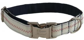 Sail Cloth Dog Collar - White with Red Stitching