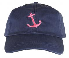 Baseball Hat - Pink Anchor on Navy Blue