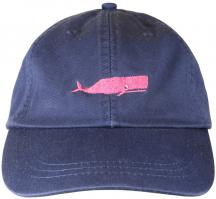 Baseball Hat - Pink Whale on Navy Blue