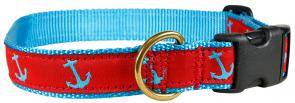 Anchor (Blue & Red) - 1-inch Ribbon Dog Collar